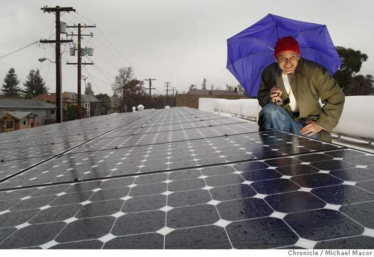 Shotgun Thearter Artistic Director, Patrick Dooley, at the roof of the theater which is covered with solar panels. Photo by Michael Macor/ San Francisco Chronicle Photographed in, Berkeley, Ca, on 2/19/08 Mandatory credit for Photographer and San Francisco Chronicle No sales/ Magazines Out