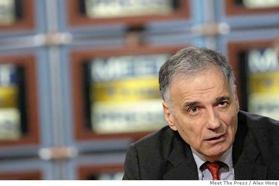 """In this photograph provided by """"Meet the Press,"""" Ralph Nader appears on """"Meet the Press'"""" Sunday, Feb. 24, 2008, at the NBC studios in Washington. Nader said Sunday he will run for president as a third-party candidate, criticizing the top White House contenders as too close to big business and pledging to repeat a bid that will """"shift the power from the few to the many."""" (AP Photo/Meet The Press, Alex Wong) ** NO SALES, NO ARCHIVE, MUST USE BEFORE MARCH , 2, 2008, MUST CREDIT """"MEET THE PRESS"""" ** NO SALES, NO ARCHIVE, MUST USE BEFOREMARCH 2, 2008, MUST CREDIT """"MEET THE PRESS"""" Photo: Alex Wong"""