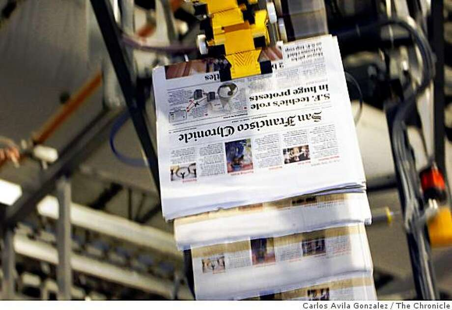 Photos of the new San Francisco Chronicle printing presses run by Transcontinental in Fremont, Calif., on Thursday, June 18, 2009, during a parallel practice run. Photo: Carlos Avila Gonzalez, The Chronicle