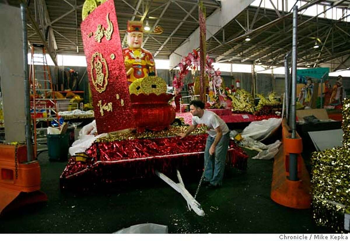 Inside a warehouse near pier 27, Scott Nordlund, with East West Productions, pulls out a nearly complete Chinese New Years Parade floats on Friday, Feb. 22, 2008 in San Francisco, Calif. Photo by Mike Kepka / San Francisco Chronicle