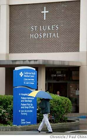A man walks past the main entrance to St. Luke's Hospital in San Francisco, Calif., on Friday, Feb. 22, 2008. Administrators may be considering a decision to close the facility in 2009.  Photo by Paul Chinn / San Francisco Chronicle MANDATORY CREDIT FOR PHOTOGRAPHER AND S.F. CHRONICLE/NO SALES - MAGS OUT Photo: Paul Chinn