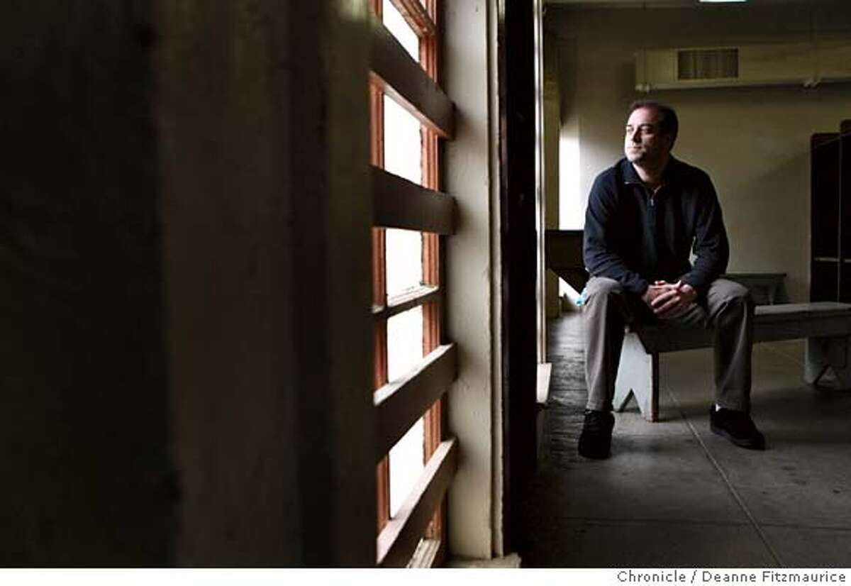 kezar_066_df.jpg Chris Gaggero is one of several people who work in the offices at Kezar who have been diagnosed with cancer. He had bone cancer and had to have 3 ribs removed. He is in the locker room that is just below his office. Kezar Pavilion is in a state of disrepair. Photographed in San Francisco on 2/6/08. Deanne Fitzmaurice / The Chronicle Mandatory credit for photographer and San Francisco Chronicle. No Sales/Magazines out.