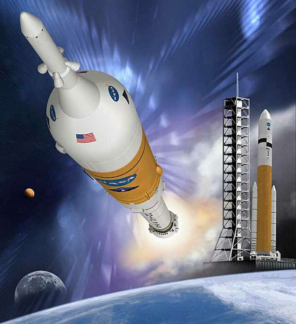 This undated artist's rendering released by NASA shows the Ares I crew launch vehicle during launch and the Ares V cargo launch vehicle on the launch pad. Officially, the space agency is still on track with a 4-year-old plan to spend $35 billion to build new rockets and return astronauts to the moon in several years. However, a top NASA manager is floating a cut-rate alternative that costs around $6.6 billion. (AP Photo/NASA)