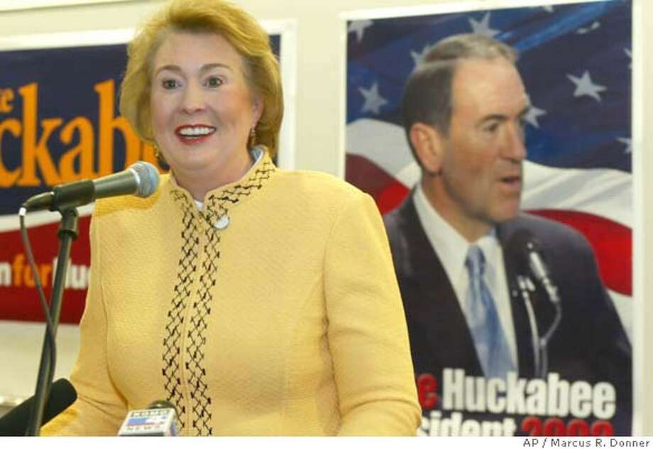 One day before the Washington state caucus Janet Huckabee campaigns for her husband Republican presidential hopeful Mike Huckabee at Northwest University in Kirkland, Wash., Friday Feb. 8, 2008. (AP Photo/Marcus R. Donner) Photo: Marcus R. Donner