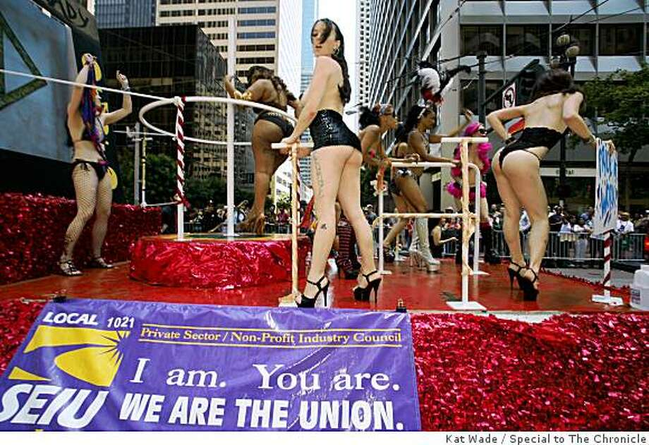 """""""Lusty Ladies"""" perform aboard the Local 1021 SEIU float during the Gay Pride Parade on Market Street in San Francisco. Photo: Kat Wade, Special To The Chronicle"""