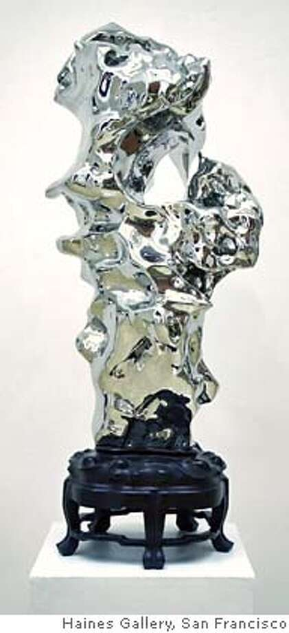 """Caption: """"Artificial Rock #99"""" (2006) Stainless steel by Zhan Wang  42.5 x 17 x 19 inches  Courtesy of Haines Gallery, San Francisco Photo: Courtesy Of Haines Gallery"""