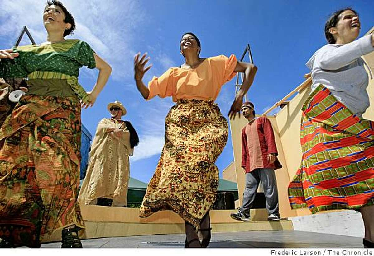 Lisa Hori-Garcia (left to right) Ed Holmes, Velina Brown, Adrian C. Mejia and BW Gonzalez all rehearse for the annual summer show in the parks on July 30, 200 with the San Francisco Mime Troupe who will be celebrating its 50th anniversary in San Francisco, Calif.