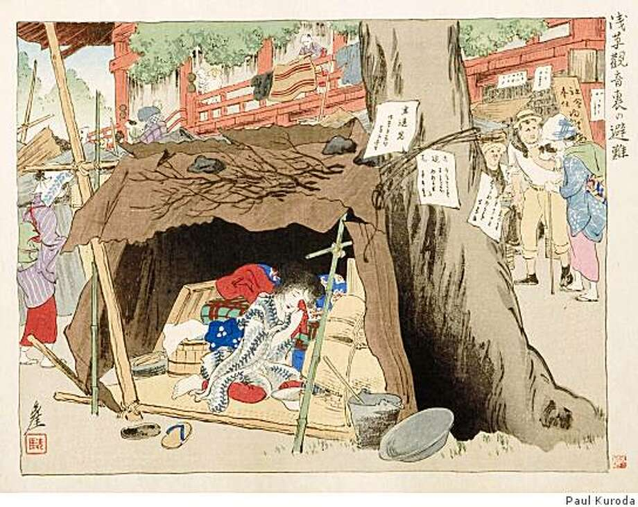 """Sengai Igawa's """"Shelter Behind Asakusa Kan-non Temple. Japanese,"""" c. 1923. Woodblock print from the Collection of the Mills College Art Museum is on view as part of """"Reverberations: Japanese Prints of the 1923 Kanto Earthquake."""" Photo: Paul Kuroda"""