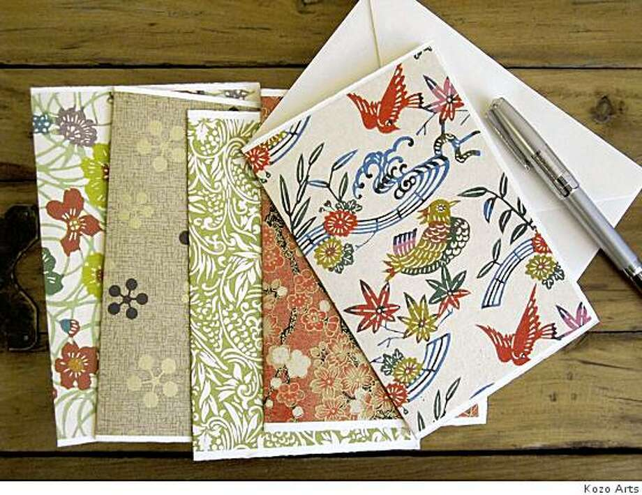 Kozo Arts sells cards that can be custom made in any of the papers they carry. Individual cards are $5 and a set of six is $30. The pen in the photo is a Recife Roller ball $102. Photo: Kozo Arts
