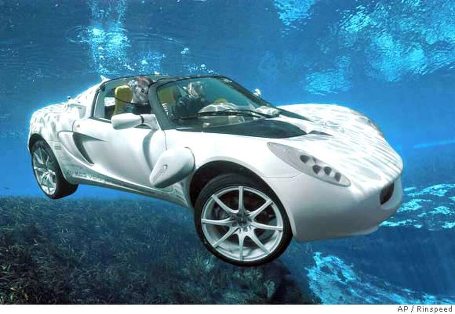 "This image, made available by Swiss specialist car maker Rinspeed, in London, Thursday Feb, 14, 2008, shows their new model, the sQuba, which the company claims is the world's first real submersible car, and which will be unveiled at the Geneva Motor Show in March. Rinspeed boss Frank M. Rinderknecht, known for his extraordinary automotive creations, is also a James Bond fan and kept revisiting in his mind, the scene from the 1977 Bond movie ""The Spy Who Loved Me"". ""For three decades I have tried to imagine how it might be possible to build a car that can fly under water. Now we have made this dream come true."", Rinderknecht said. The car, which is stable at a depth of 10 meters, has zero emissions, is driven by three electric motors, and powered by rechargeable Lithium-Ion batteries.AP Photo/Rinspeed, ho) ** EDITORIAL USE ONLY: NO SALES: ** EDITORIAL USE ONLY: NO SALES: AP PROVIDES ACCESS TO THIS PUBLICLY DISTRIBUTED HANDOUT PHOTO TO BE USED ONLY TO ILLUSTRATE NEWS REPORTING OR COMMENTARY ON THE FACTS OR EVENTS DEPICTED IN THIS IMAGE. Photo: RINSPEED"