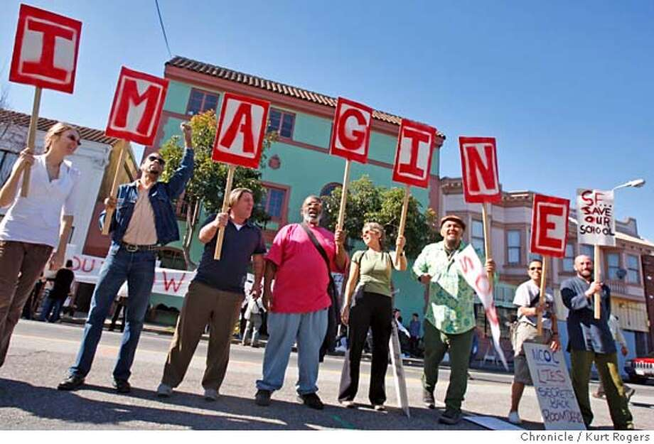 Students and staff of New College of California held a protest this afternoon to bring attention to the problems the school is having. The college was put on probation by its accrediting association also the president quit. Kurt Rogers / The Chronicleg MANDATORY CREDIT FOR PHOTOG AND SAN FRANCISCO CHRONICLE/NO SALES-MAGS OUT Photo: Kurt Rogers