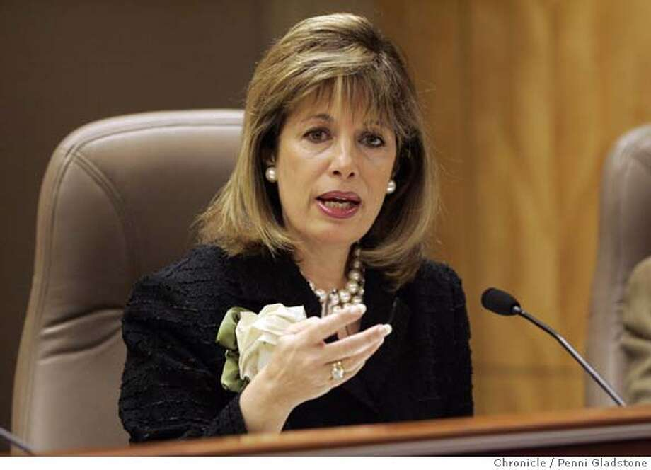 UCPAY_SENATE09 Senator Jackie Speier speaking  UC President Robert Dynes will be on the hotseat Wednesday when he testifies before a state Senate Education Committee hearing on UC's pay practices. State Capitol Photo by Penni Gladstone/The San Francisco Chronicle  Photo taken on 2/8/06, in Sacramento, CA.  Ran on: 02-09-2006  Sen. Jackie Speier, D-Hillsborough, raised the question of why reforms recommended in 1992 had not been implemented.  ALSO Ran on: 02-26-2006  Ran on: 02-28-2006  Jackie Speier told one department official, &quo;You're not representing the taxpayer interests.''  Ran on: 05-14-2006  Got toughness? Speier has shown a willingness to challenge powerful interests.  Ran on: 11-23-2006  State Sen. Jackie Speier, who is leaving the Legisla- ture, says that although she doesn't know whether she will run for public office again, she isn't ruling out a gubernatorial bid: &quo;I think I could run this state very well.&quo;  Ran on: 11-23-2006  State Sen. Jackie Speier, who is leaving the Legisla- ture, says that although she doesn't know whether she will run for public office again, she isn't ruling out a gubernatorial bid: &quo;I think I could run this state very well.&quo;  ALSO Ran on: 12-24-2006  Victor Conte, talking to reporters after being sentenced for providing undetectable performance-enhancing drugs to elite athletes, was the founder of the Bay Area Laboratory Co-operative. Dozens of counts were dropped in a plea bargain for Conte and others.  Ran on: 12-24-2006  Victor Conte, talking to reporters after being sentenced for providing undetectable performance-enhancing drugs to elite athletes, was the founder of the Bay Area Laboratory Co-Operative. Dozens of counts were dropped in a plea bargain for Conte and others.  ALSO Ran on: 11-19-2007  Speier Photo: Penni Gladstone