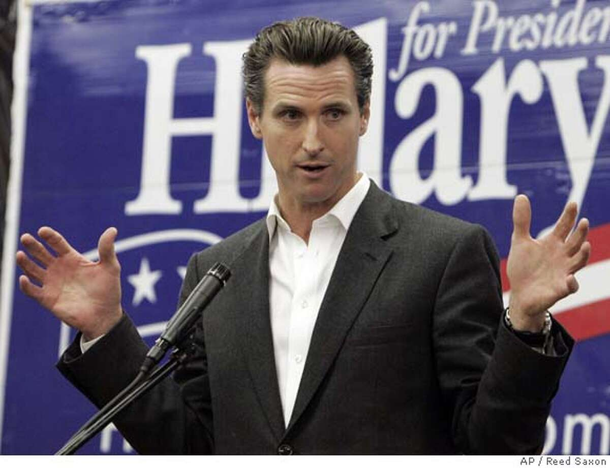 Mayor Gavin Newsom of San Francisco, Calif., joins other California mayors to promote Democratic presidential hopeful Hillary Rodham Clinton's economic stimulus package as a measure to improve the lives of working families, at Clinton's East Los Angeles campaign office Wednesday, Jan. 30, 2008. (AP Photo/Reed Saxon)