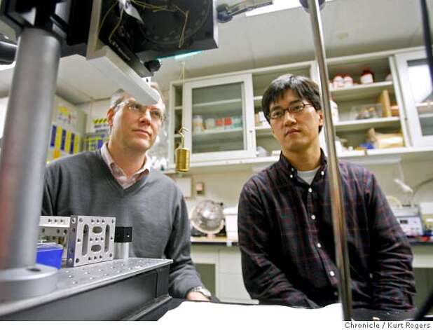 Ron Fearing and Jone ho Lee in a lab at UC Berkeley looking at what they call Gecko Tape. A small piece of fabric with tiny fingers on it that allows it to stick to smooth surface like glass. When some pressure is applied to tape the it creates its own adhesion.  Kurt Rogers / The Chronicleg Photo: Kurt Rogers