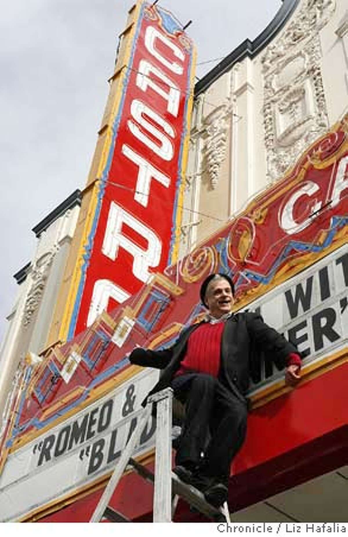 Marc Huestis in front of the Castro Theater. �2008, San Francisco Chronicle/ Liz Hafalia MANDATORY CREDIT FOR PHOTOG AND SAN FRANCISCO CHRONICLE. NO SALES- MAGS OUT.