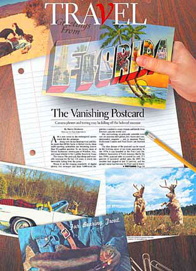 The Vanishing Postcard. Illustration by Tracy Cox, postcards courtsey of Quantity Postcards, Oakland, CA, www.qpfans.com