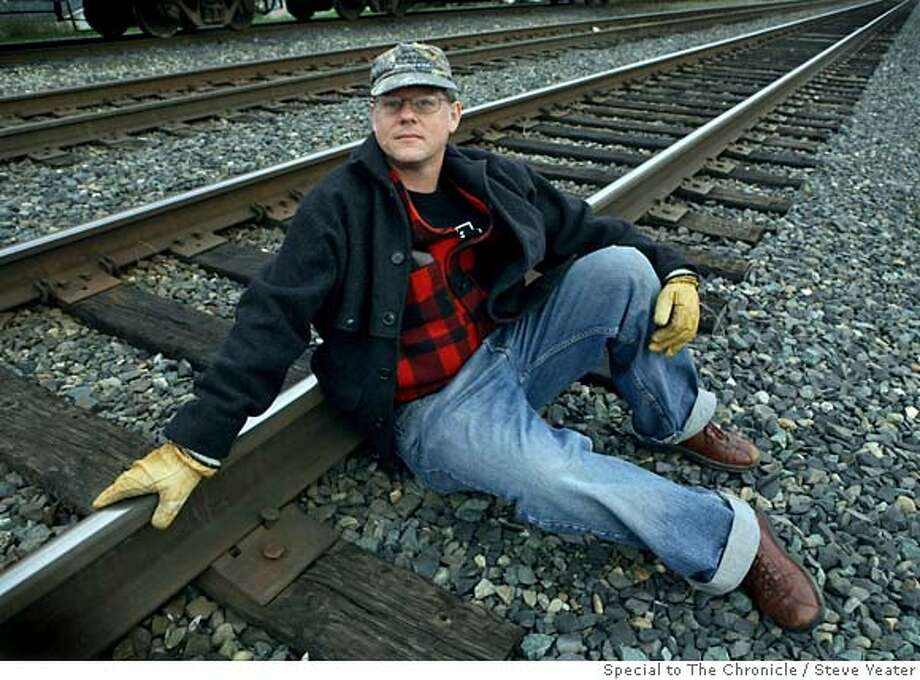 William T. Vollmann poses for a photograph at a railyard near his studio in Sacramento, Calif., on Friday, Feb.1, 2008. Steve Yeater / Special to The Chronicle Photo: Steve Yeater