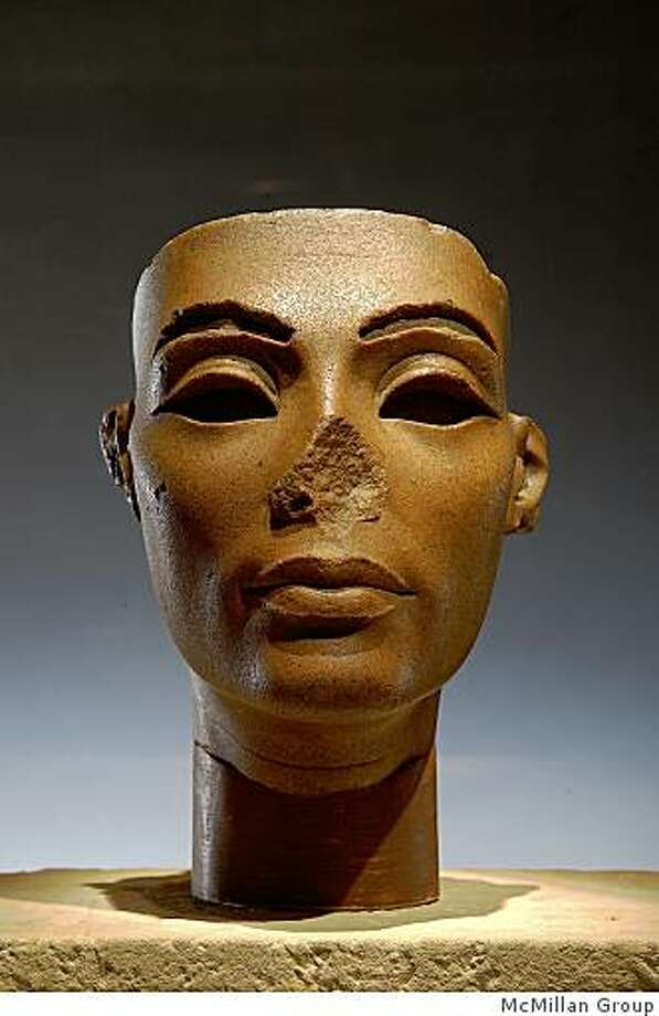 "From ""Tutankhamun and the Golden Age of the Pharaohs"" (2009)Face from a Composite Statue of Nefertiti.  Dynasty 18, reign of Akhenaten (1353-1336 BC).  Brown quartzite.  Egyptian Museum, Cairo.  JE 45547. Photo: McMillan Group"
