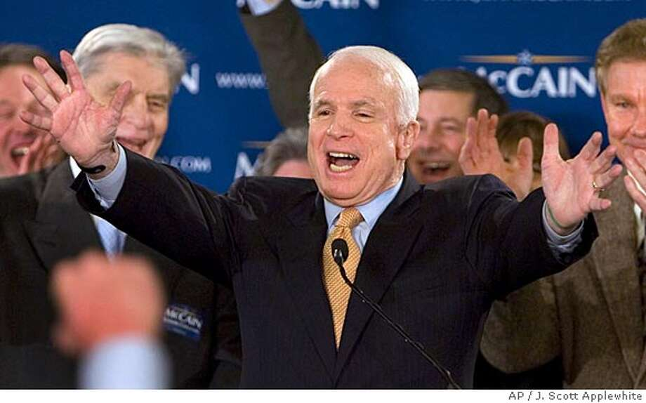 Republican presidential hopeful Sen. John McCain, R-Ariz., greets supporters following primaries in Virginia, Maryland, and the District of Columbia, Tuesday, Feb. 12, 2008, in Alexandria, Va. (AP Photo/J. Scott Applewhite) Photo: J. Scott Applewhite