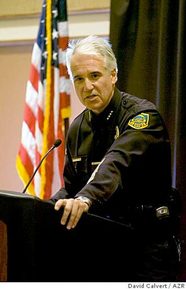 George Gascon addresses officers and guests at his swearing in as the Mesa chief of police at the Mesa Convention Center in 2006. Before moving to Mesa, Gascon was the assistant chief of police for the Los Angeles Police Department. Photo: David Calvert, AZR