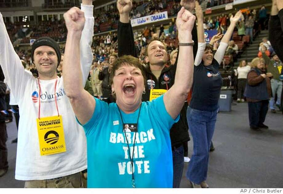 Barack Obama supporter Tawny Reckamp, center, and others celebrate after the first ballot is announced Tuesday, Jan. 5, 2008, at the Ada County Democratic Caucus at Qwest Arena in Boise, Idaho. (AP Photo/Idaho Statesman/Chris Butler)** MANDATORY CREDIT IDAHO STATESMAN/CHRIS BUTLER **  Ran on: 02-08-2008  Tawny Reckamp (center) and other supporters of Barack Obama celebrate a Democratic caucus win in Boise, Idaho. Even the word caucus conjures up warm and fuzzy images. Photo: Chris Butler