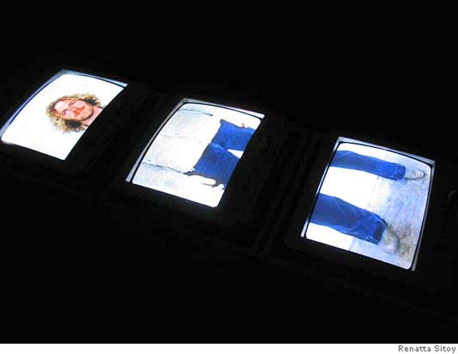 """Renetta Sitoy, """"Exquisite Corpse,"""" 2007 48 x 12 x 15 in.; 3:40 minute loop 3 channel video installation Photo: Renatta Sitoy"""