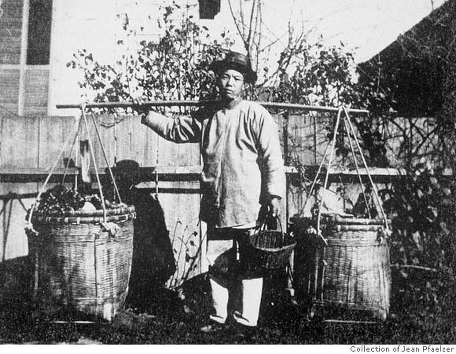 "Driven Out; photo exhibit Oakland Asian Cultural Center. ""Vegetable Peddler"" is part of a collection of historic photos and other materials documenting the daily lives and frequent persecution of Chinese Americans in the 19th century. credit: collection of Jean Pfaelzer Photo: Collection Of Jean Pfaelzer"