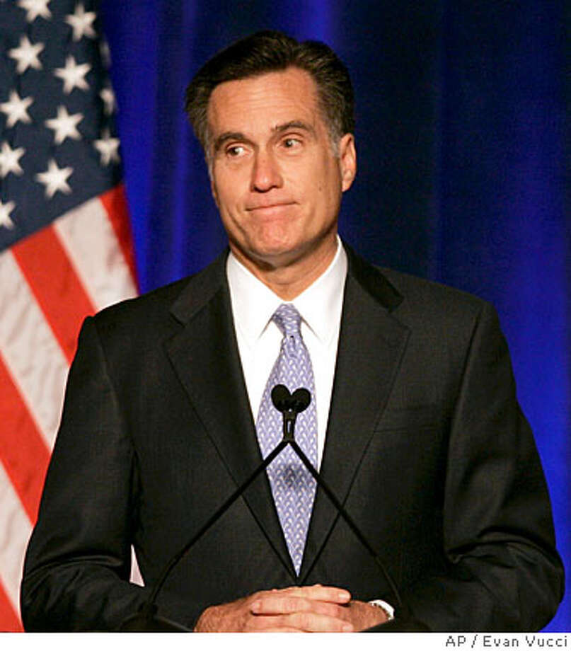 Former Massachusetts Gov. Mitt Romney pauses during a speech before the Conservative Political Action Conference, Thursday, Feb. 7, 2008, in Washington, where he announced he was suspending his faltering presidential campaign. (AP Photo/Evan Vucci) Photo: Evan Vucci