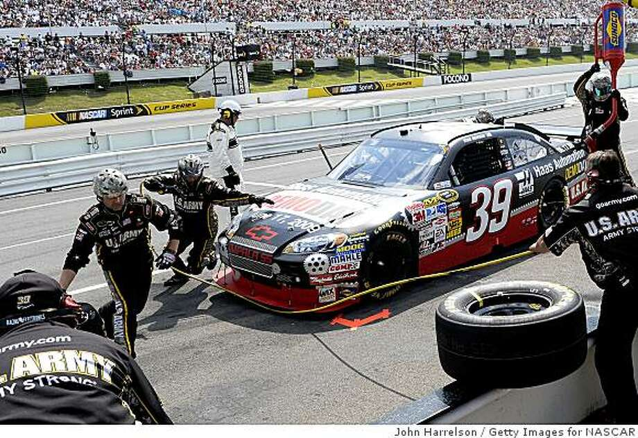 LONG POND, PA - JUNE 07: Ryan Newman, driver of the #39 Haas Automation/U.S. Army Chevrolet makesa pit stop  during the NASCAR Sprint Cup Series Pocono 500 on June 7, 2009 at Pocono Raceway in Long Pond, Pennsylvania.  (Photo by John Harrelson/Getty Images for NASCAR) Photo: John Harrelson, Getty Images For NASCAR