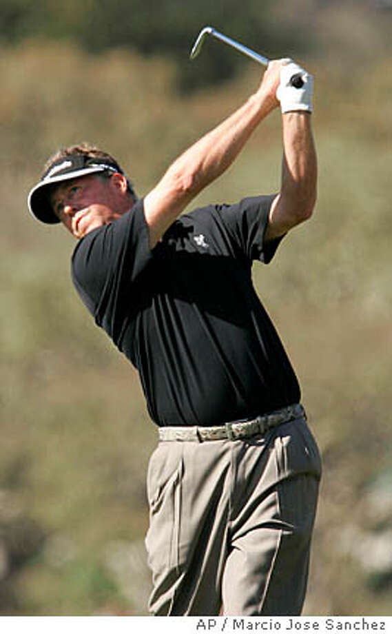 Michael Allen tees off on the sixth tee in the third round of the AT&T Pebble Beach National Pro-Am golf tournament at the Pebble Beach Golf Links in Pebble Beach, Calif., Saturday, Feb. 9, 2008. (AP Photo/Marcio Jose Sanchez) Photo: Marcio Jose Sanchez