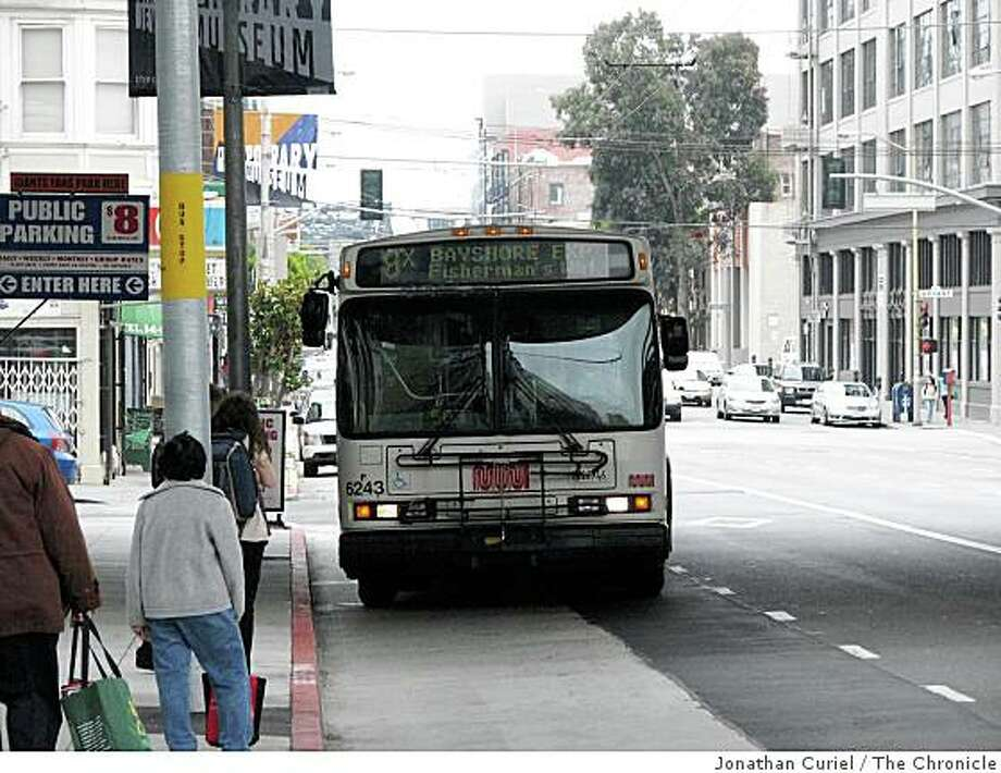 a Muni stop on Third Street between Stillman and Perry streets, Photo: Jonathan Curiel, The Chronicle