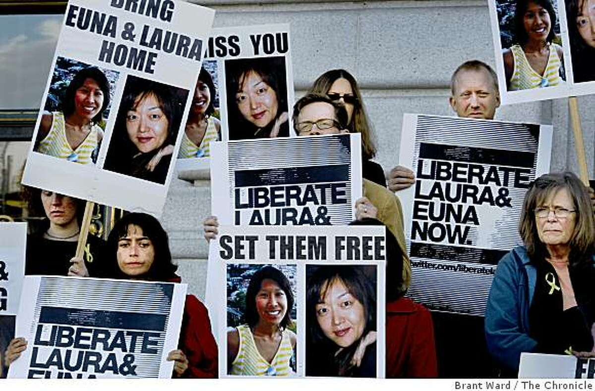 Concerned looks on the faces of colleagues and friends as they stood on the steps of City Hall. Colleagues, friends and supporters of American journalists Laura Ling and Euna Lee gathered at San Francisco City Hall Wednesday June 3, 2009 on the eve of their trial in North Korea.