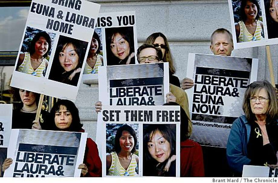 Concerned looks on the faces of colleagues and friends as they stood on the steps of City Hall. Colleagues, friends and supporters of American journalists Laura Ling and Euna Lee gathered at San Francisco City Hall Wednesday June 3, 2009 on the eve of their trial in North Korea. Photo: Brant Ward, The Chronicle