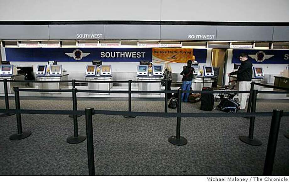 No lines at the Southwest Airlines Ticket counter in Terminal 1 of the San Francisco International Airport on a quiet day before Thanksgiving, on Wednesday, November 26, 2008. Photo: Michael Maloney, The Chronicle