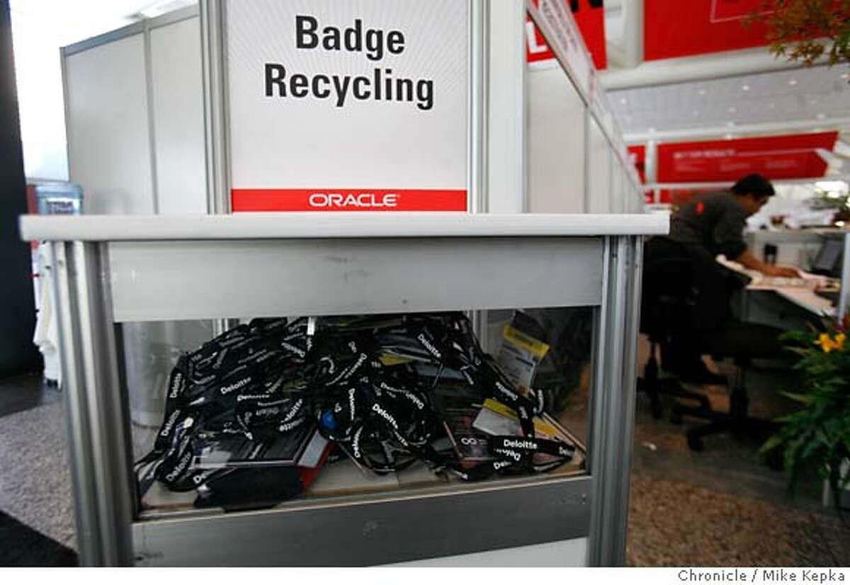 On the last day of Oracle World a recycling program was set up at door for old conference badges. Oracle World and other big conventions that come to San Francisco generate on average generate as much waste in one hour as the average family does in a year. Mike Kepka / The Chronicle Photo taken on 11/15/07, in San Francisco, CA, USA MANDATORY CREDIT FOR PHOTOG AND SAN FRANCISCO CHRONICLE/NO SALES-MAGS OUT