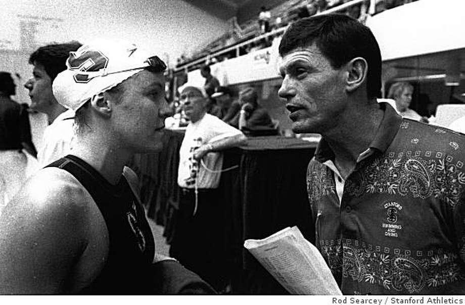 1994: Jenny Thompson, Richard Quick. Photo: Rod Searcey, Stanford Athletics