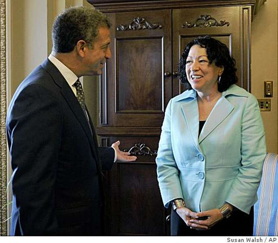 Supreme Court nominee Sonia Sotomayor meets with Sen. Russ Feingold, D-Wis. on Capitol Hill in Washington, Wednesday, June 10, 2009. (AP Photo/Susan Walsh) Photo: Susan Walsh, AP