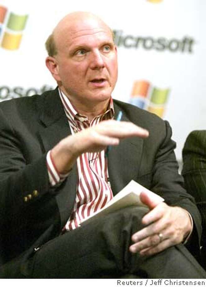 Microsoft Chief Executive Steve Ballmer makes a point during a news conference at the seventh annual CEO summit held at Microsoft headquarters in Redmond, Washington in this May 21, 2003 file photo . Yahoo Inc. confirmed on February 1, 2008 that it has received an unsolicited bid from Microsoft Corp to acquire Yahoo and that its board of directors would consider the $44.6 billion deal. Picture taken May 21, 2003. REUTERS/Jeff Christensen/Files (UNITED STATES) Photo: JEFF CHRISTENSEN