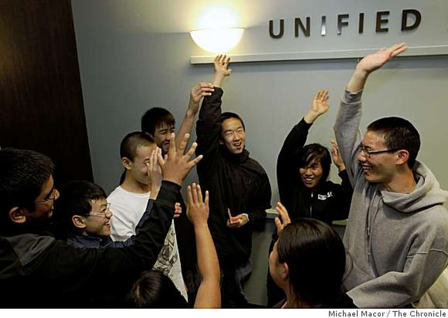Student celebrate after the San Francisco School Board decided that  the JROTC programs, in San Francisco, Calif. schools will be eligible for physical education credit  after a vote on Tuesday June 9, 2009. Photo: Michael Macor, The Chronicle