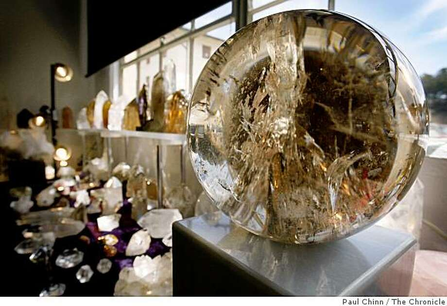 A 43 lb. citrine quartz crystal from Brazil is displayed at the Great San Francisco Crystal Fair at Fort Mason Center in San Francisco, Calif., on Saturday, June 6, 2009. Photo: Paul Chinn, The Chronicle