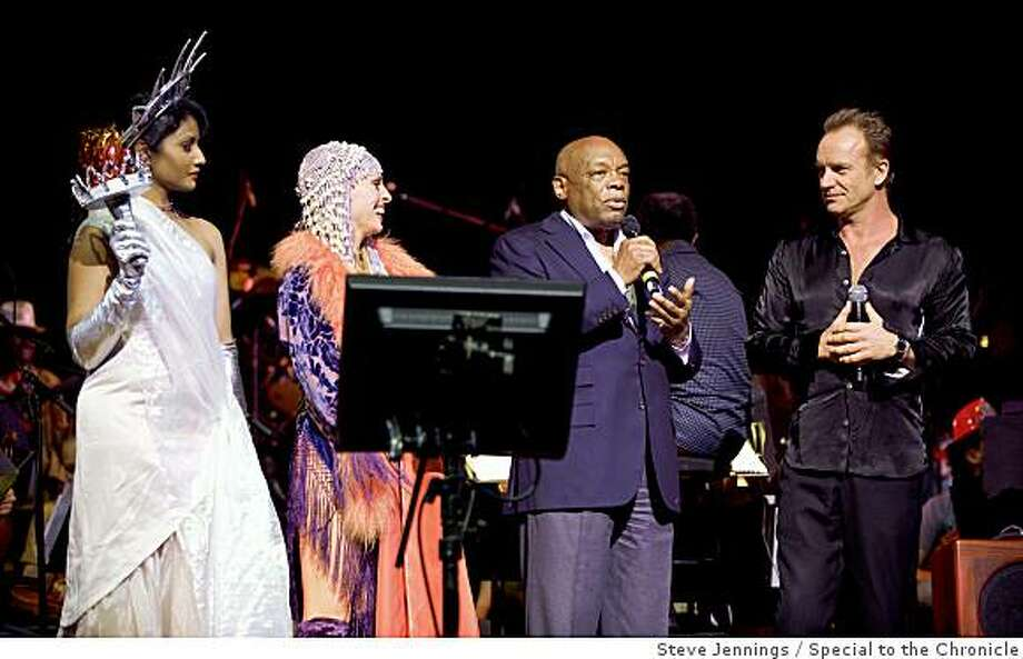 "The Honorable Willie Brown is joined by Sting (and the Statue of Liberty and a flapper)Sting made a rare San Francisco appearance at ""Let the Sunshine In,"" a star studded event at Davies symphony hall benefiting Oakland shooting victim  Christopher Rodriguez, the San Francisco Conservatory of Music and the Narada Michael Walden Foundation. Photo: Steve Jennings, Special To The Chronicle"