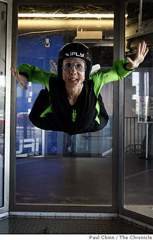 Sue Noyes defies gravity in the wind chamber of the iFly indoor skydiving studio in Union City, Calif., on Thursday, May 7, 2009. Photo: Paul Chinn, The Chronicle