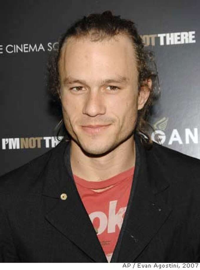 """** FILE ** Actor Heath Ledger attends a special Cinema Society and Hogan hosted screening of """"I'm Not There"""" at the Chelsea West Cinemas, in this Nov. 13, 2007, file photo in New York. The NYC medical examiner reports that Ledger died as the result of acute intoxication by the combined effects of oxycodone, hydrocodone, diazepam, temazepam, alprazolam, and doxylamine. (AP Photo/Evan Agostini, file) NOV. 13, 2007, FILE PHOTO Photo: Evan Agostini"""