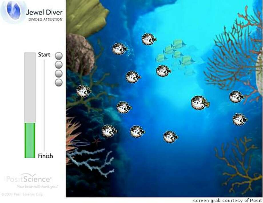 A portion of the software used by Allstate ? called the Jewel Diver ? is demonstrated on Posit?s Web site. The user is asked to keep his eyes on a black-and-white fish as it swims through a reef hiding a red jewel behind its body. As the game goes on, more jewels and more fish, all identical, appear, and as the fish swim and blend into a school, keeping track of all the jewels becomes impossible. Nobody is supposed to get all the answers right. Photo: Screen Grab Courtesy Of Posit