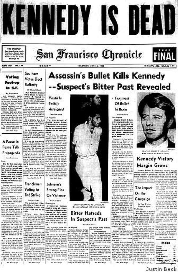 June 6, 1968 ? Senator Robert Kennedy is dead after being shot the day before in a Los Angeles hotel. Kennedy had been the Democratic party's likely candidate for president as late returns in the California primary were pointing toward victory. The man who assassinated him, Sirhan Sirhan, was convicted of murder the following year and given the death penalty. His sentence was later commuted to life in prison. Photo: Justin Beck