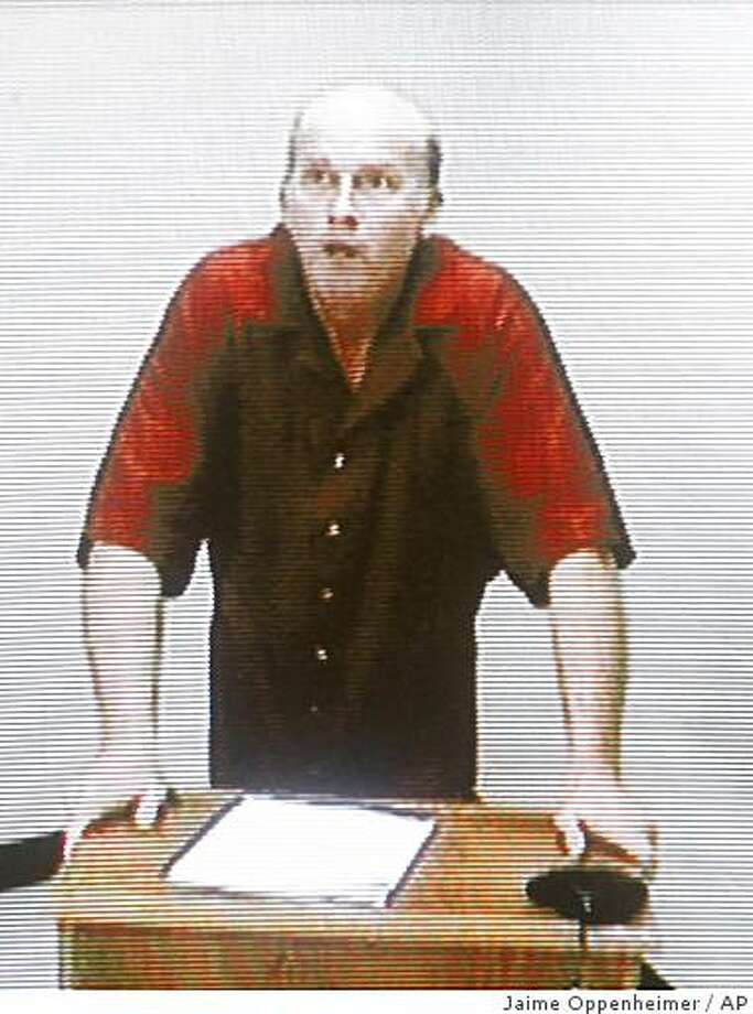 Scott Roeder makes his first court appearance via a video link from the Sedgwick County Jail on Tuesday, June 2, 2009, in Wichita, Kan.   Roeder, 51, has been charged with first-degree murder in the death of late-term abortion provider Dr. George Tiller. Photo: Jaime Oppenheimer, AP