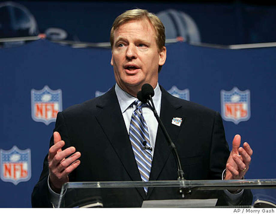 National Football League commissioner Roger Goodell answers a question during a news conference Friday, Feb. 1, 2008, in Phoenix. (AP Photo/Morry Gash) Photo: Morry Gash