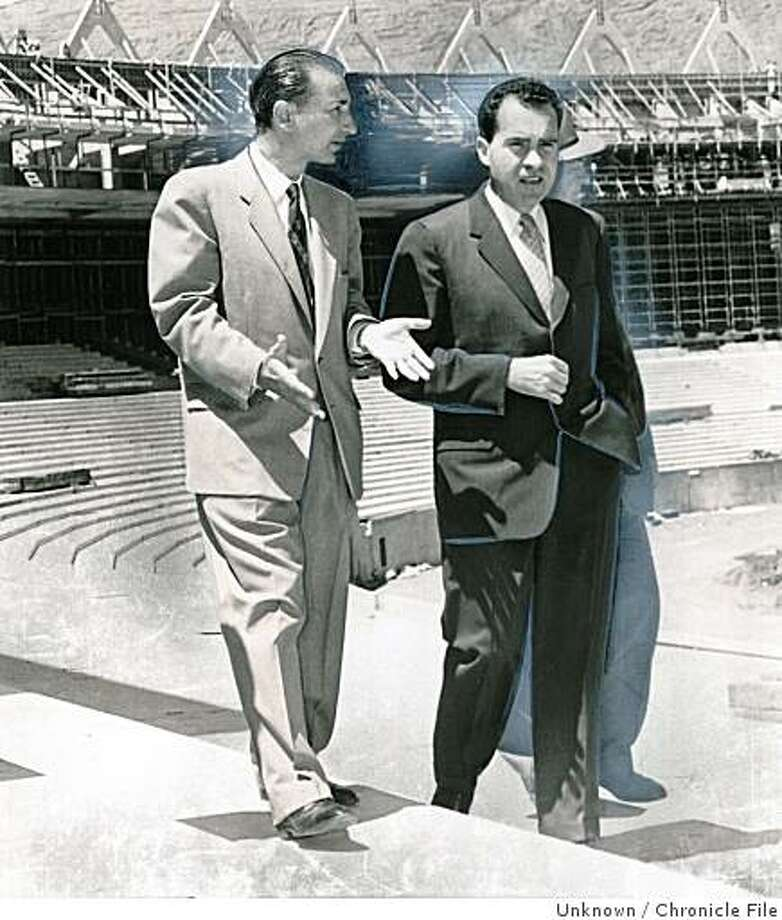 wayback07.jpg June 13, 1959 - Sports editor Art Rosenbaum with Vice President Richard M. Nixon toured Candelstick Park in 1959, when it was still under construction.Unknown Chronicle File Photo: Unknown, Chronicle File
