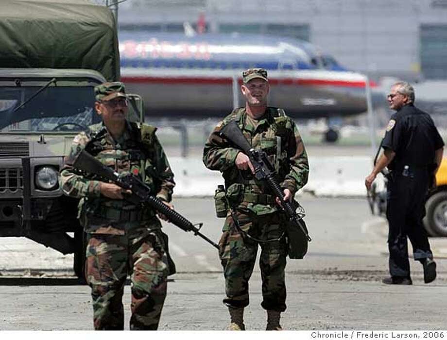 The U.S Army National Guard troops took up positions at San Francisco International Airport to help out with security at the airport. About 100 guard members where assigned to SFO mostly station at exterior gates surrounded the airport. 8/11/06  {Frederic Larson/The Chronicle} Ran on: 08-12-2006  National Guard troops take up positions at SFO, where they will assist with security while keeping a low profile among airline passengers.  Ran on: 08-12-2006  National Guard troops take up positions at SFO, where they will assist with security while keeping a low profile among airline passengers.  Ran on: 02-01-2008  Army National Guard troops helped with security at San Francisco International Airport in August 2006. Photo: Frederic Larson