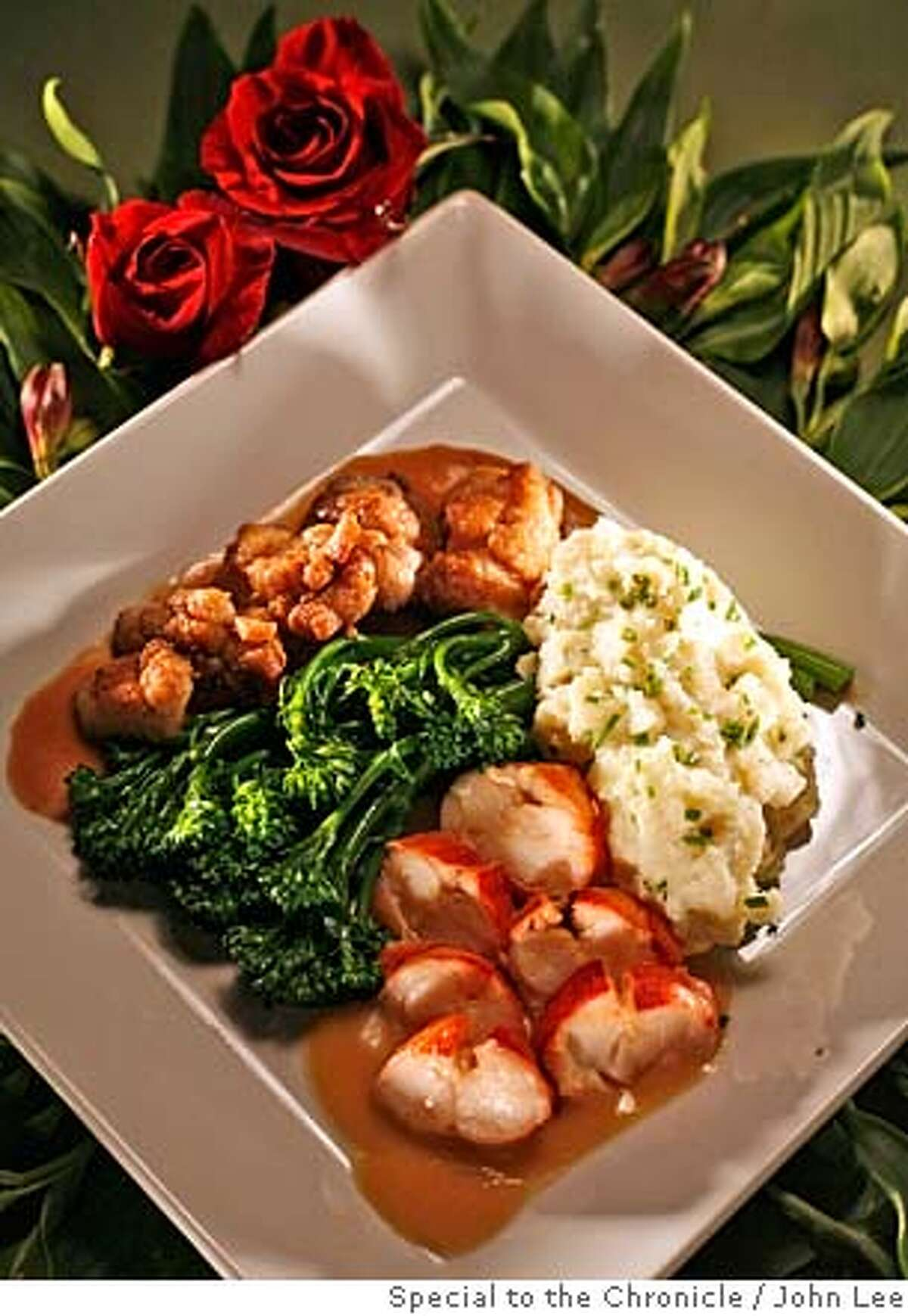PAIRINGS01_02_JOHNLEE.JPG Pairing recipe to go with Brut Rose sparkling wine for Valentine's Day. Lobster and lemon sauce with sweetbreads and demi-glace with mashed potatoes and broccoli. By JOHN LEE/SPECIAL TO THE CHRONICLE